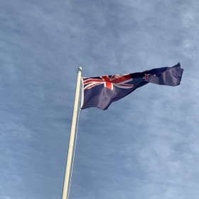 New Zealand Flag in the Spring Wind