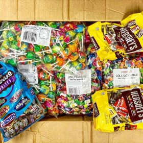 A box full of Halloween candy