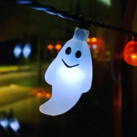 Ghost light illuminated on Halloween light string