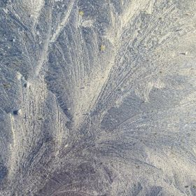 Frost patterns on my silver car - close-up