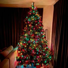 Traditional Christmas tree with red and gold ornaments and red, yellow, blue, and green lights