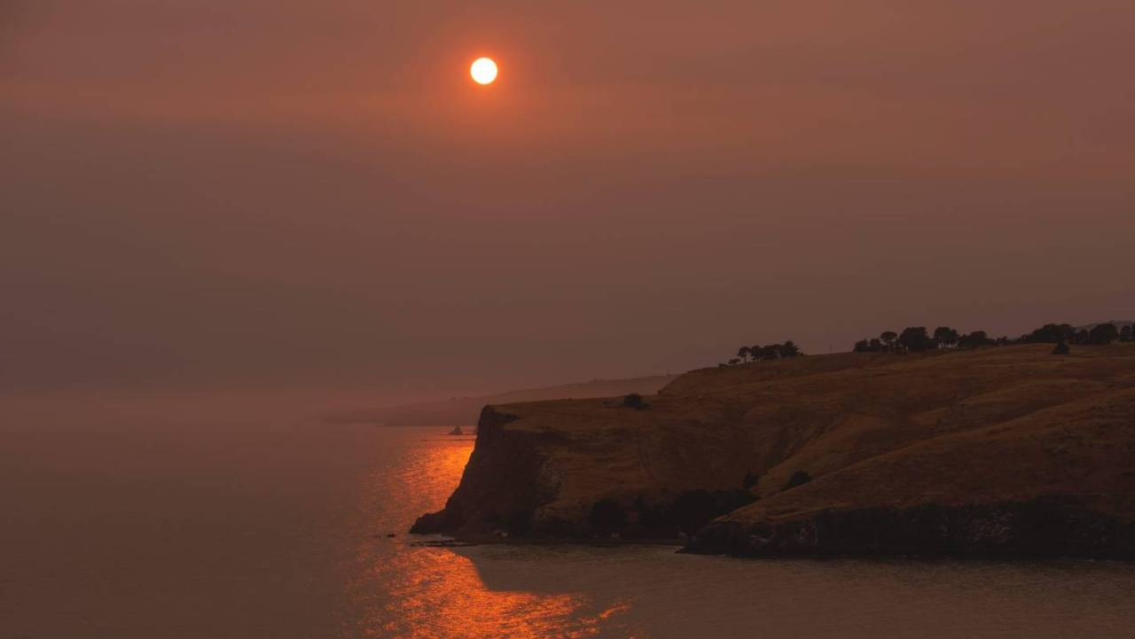 Red skies over Taylor's Mistake Beach, Banks Peninsula on 1 January 2020 by Tess Rait