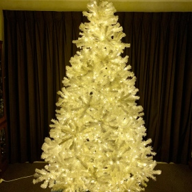 White Christmas tree with warm white LED lights
