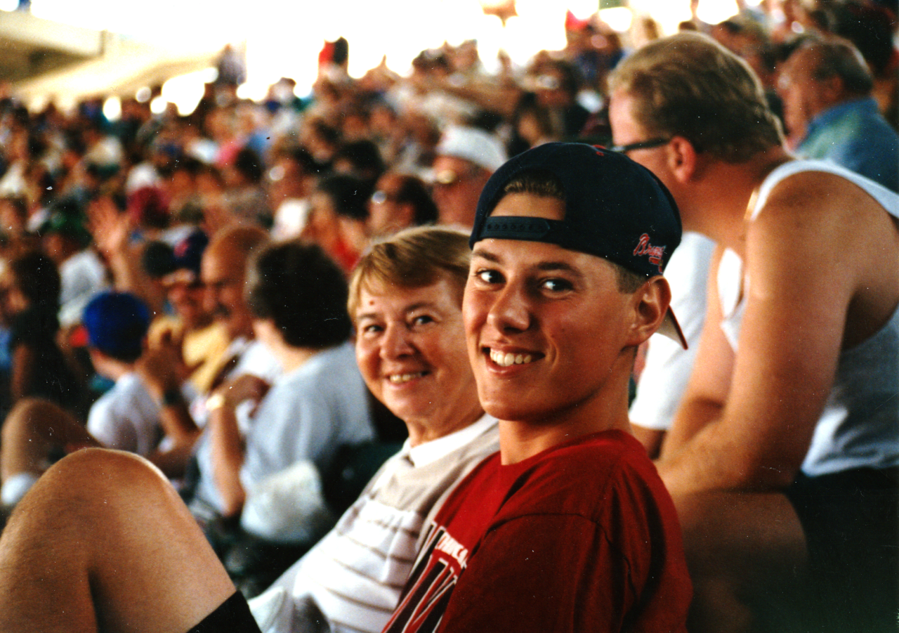Grandma and Brian at a baseball game in the mid 1990s