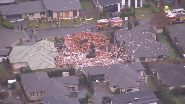 House Destroyed by Gas Explosion on 19 July 2019 in Northwood, Christchurch, New Zealand by OneNews