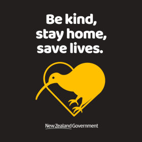 Be kind, stay home, save lives. New Zealand Government COVID-19 graphic. Kiwi in a heart