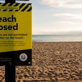 COVID-19 Notice on Beach Closed from City of Port Phillip, Australia