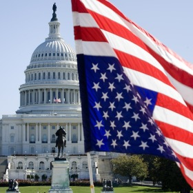 American Flag Upside Down in Front of US Capitol Building