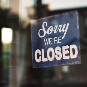 "Blue and White ""Sorry We're Closed"" Wooden Sign"