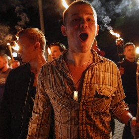 """White Supremacist and Neo-Nazi Protesters at """"Unite the Right"""" Rally in Charlottesville, Virginia on the Evening of 11 August 2017"""