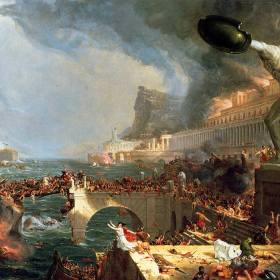 Painting: The Course of Empire: Destruction by Thomas Cole in 1836