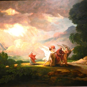 Painting of Lot Fleeing From Sodom by Benjamin West, 1810