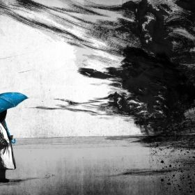 Person Holding Umbrella with an Approaching Storm