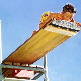"""Boy on High Dive"" by Norman Rockwell, 1947"