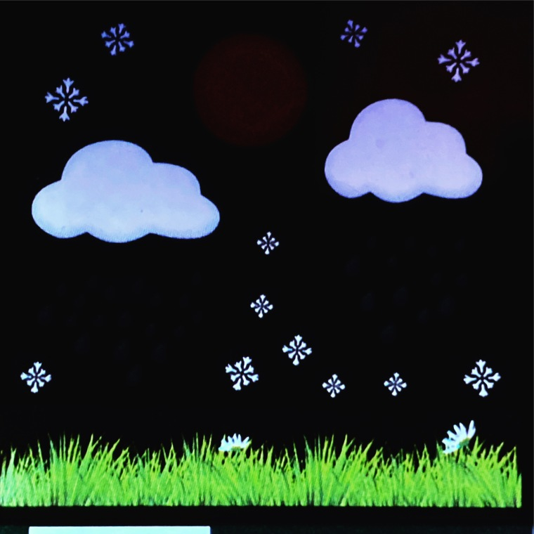 Home weather station screen showing clouds and snow flakes on the display, indicating snow is the upcoming weather system