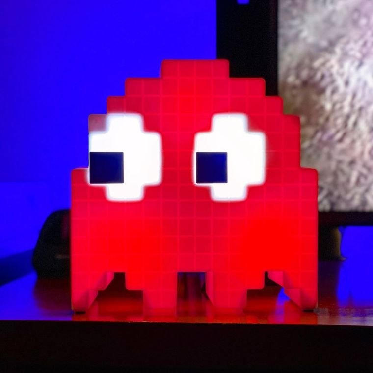 Red lamp in the shape of a Pac-Man ghost