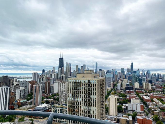 Chicago city skyline looking southwards on a cloudy day