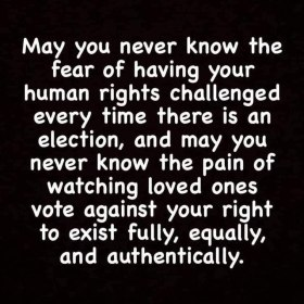 May you never know the fear of having your human rights challenged every time there is an election, and may you never know the pain of watching loved ones vote against your right to exist fully, equally, and authentically.