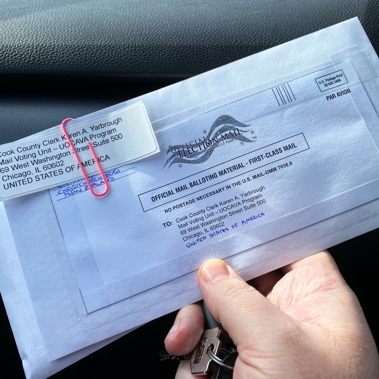 Envelope containing my American 2020 General Election ballot