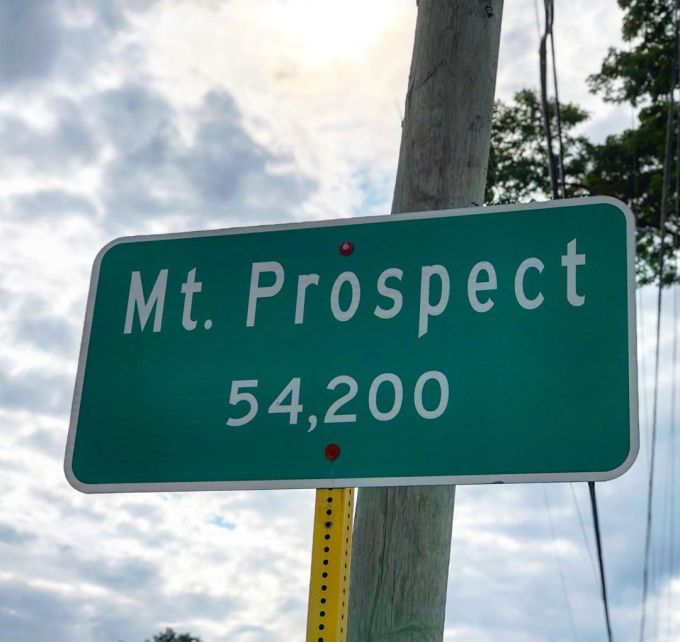 Village of Mount Prospect population / boundary sign