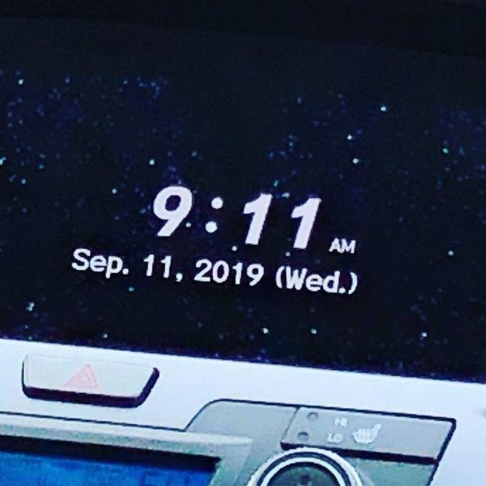 Clock readout of 9:11 AM on September 11, 2019
