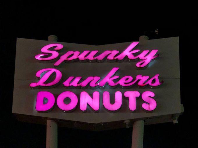 Illuminated donut shop sign