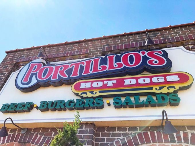 Portillo's Hot Dogs sign in Chicago