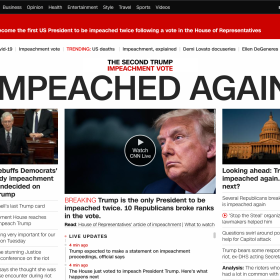"Screen shot of CNN Web site on 14 January 2021 (New Zealand Daylight Savings Time) with the Headline ""Impeached Again"""