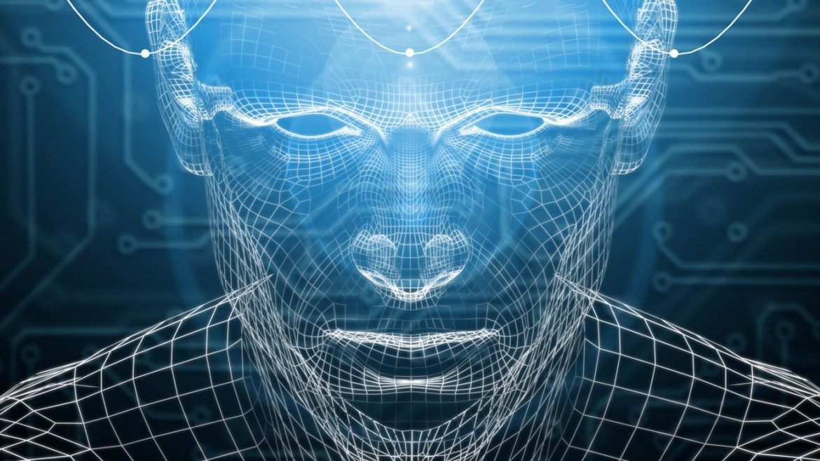 Wire frame computer-generated outline of a human face and head